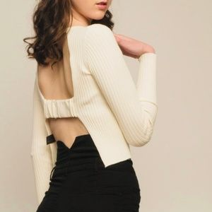 Super cute ivory cutout knit top from Zara